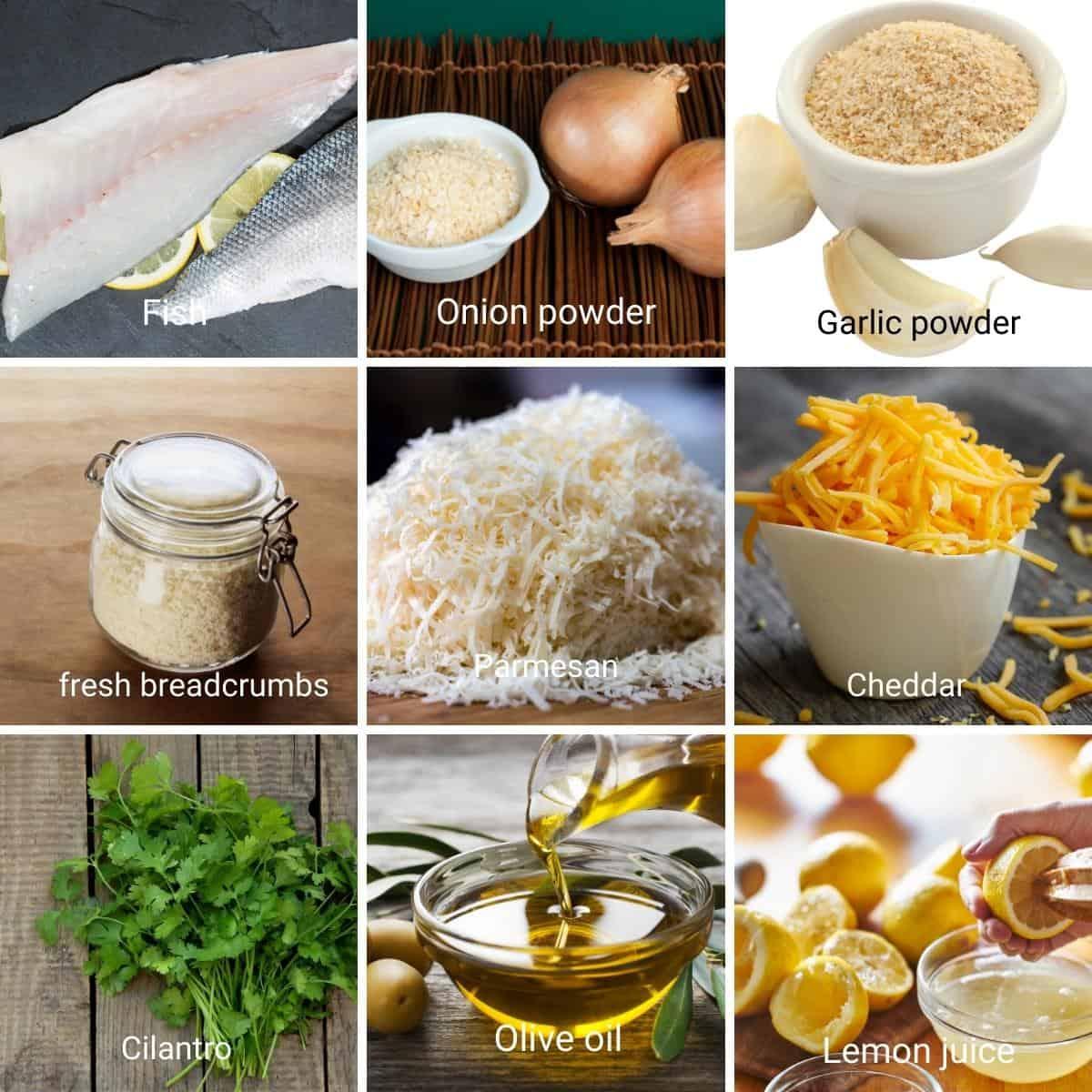 Ingredients for making baked fish fillets.