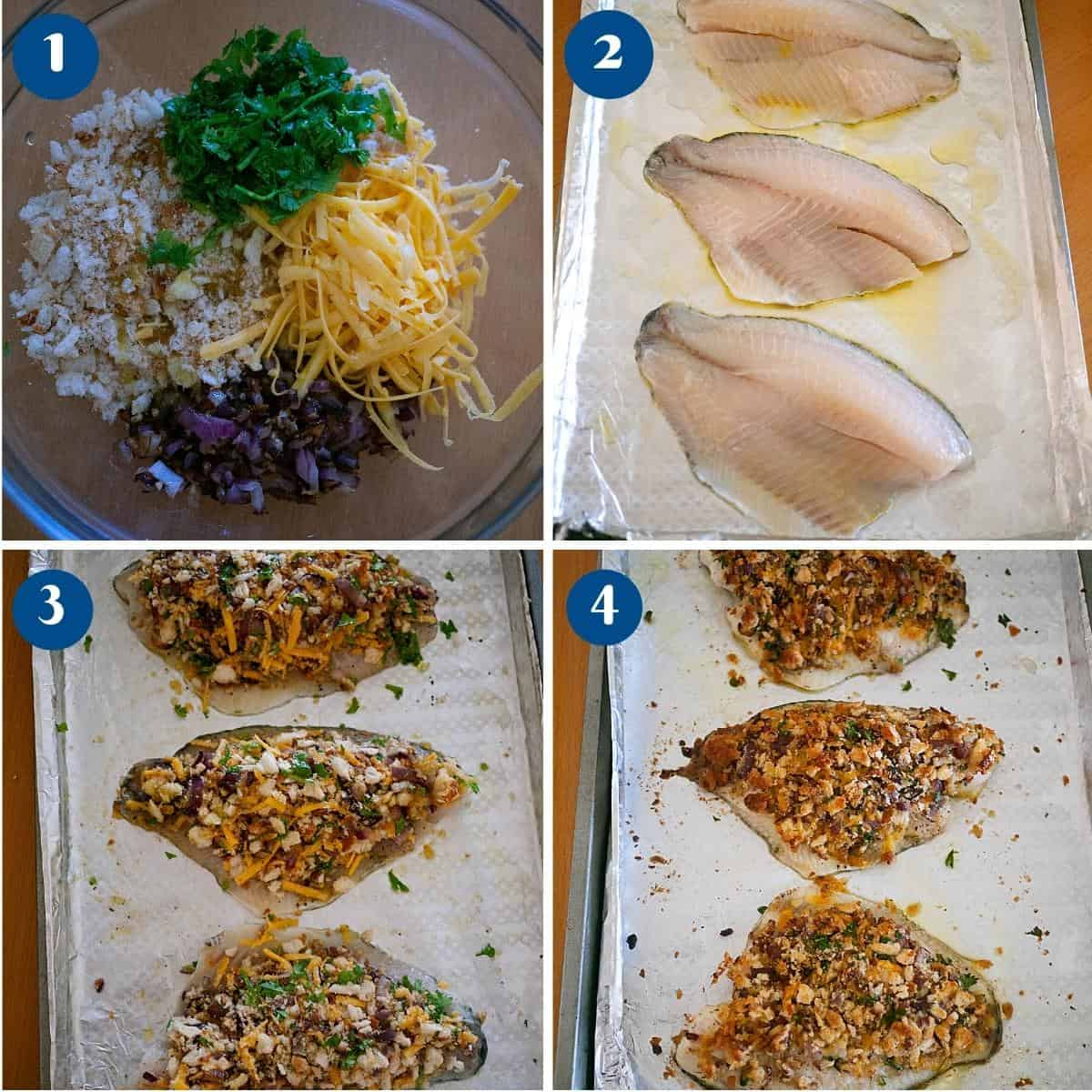 Progress pictures for baking the fish fillets with breadcrumbs.