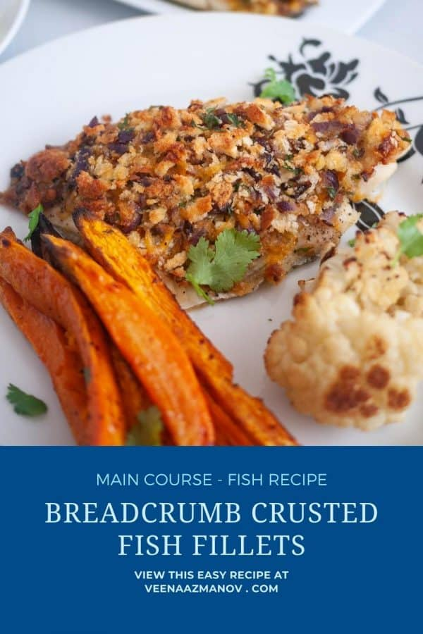 Pinterest image for baked breadcrumb fish.