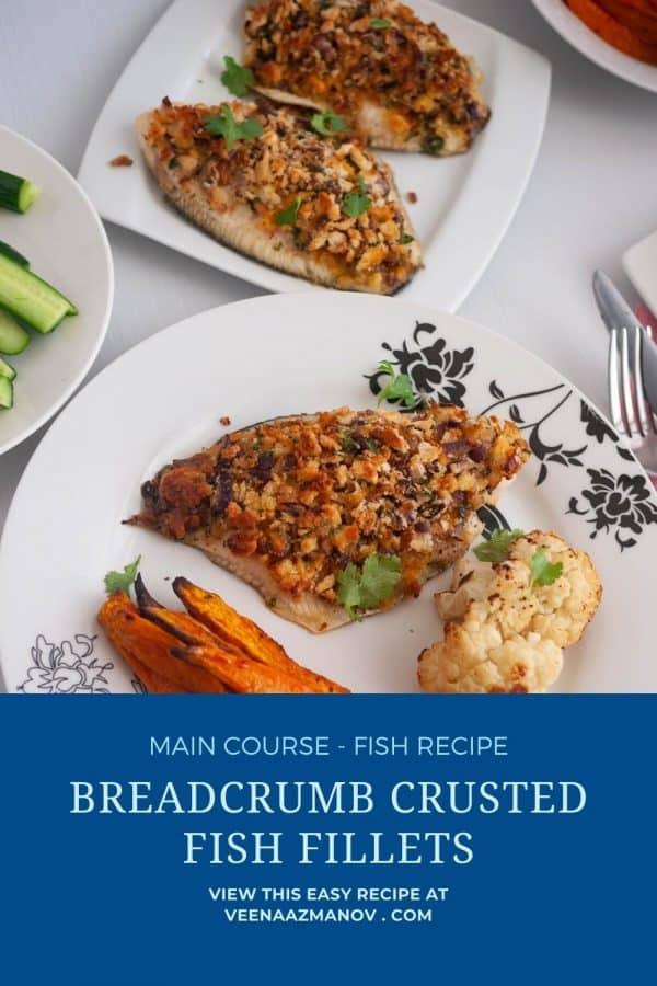 Pinterest image for baked fish fillets.