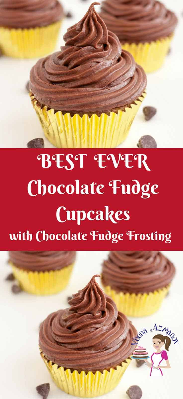 TThese chocolate fudge cupcakes are the ultimate luxury for any chocolate lover. Made with real chocolate in the batter as well as the frosting. The cupcakes are moist light with a soft crumb and the frosting is rich, dark and indulgent via veenaazmanov.com #chocolate #Fudge #cupcakes #Buttercream #chocolatefudgecupcakes #veenaazmanov #recipe #baking