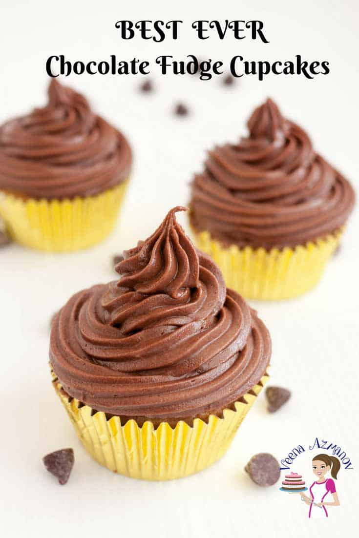 An image optimized for social media share for these chocolate fudge cupcakes topped with chocolate fudge buttercream that just melt in the mouth.