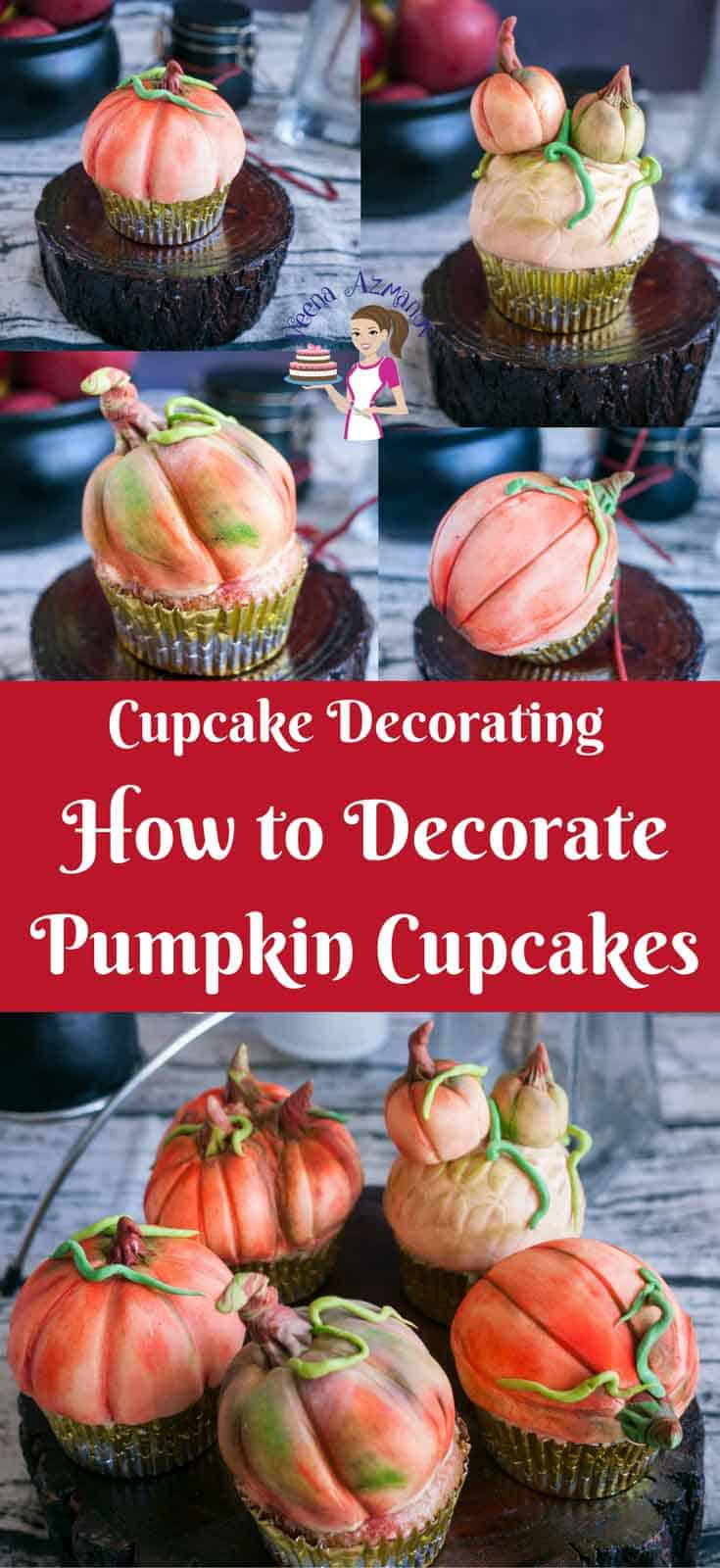 These pumpkin cupcakes are perfect treats to give as gifts to anyone big or small during the season of fall or Halloween. I've used my Pumpkin spiced apple cupcakes recipe and decorated them to look like pumpkins. They are simple easy and adorable as  you can see in the video tutorial. #pumpkin #Cupcakes #decorating #cupcake #cupcakedecorating #easypumpkincupcakes #pumpkincaketopper #cakedecorating #tutorial #video