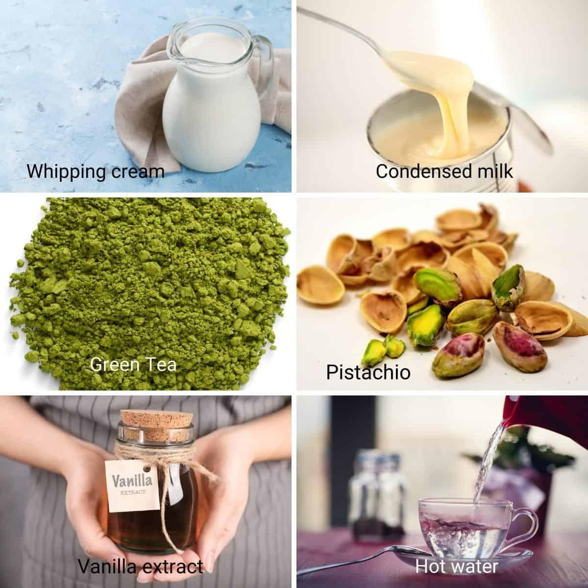 Ingredients for no churn matcha ice cream.