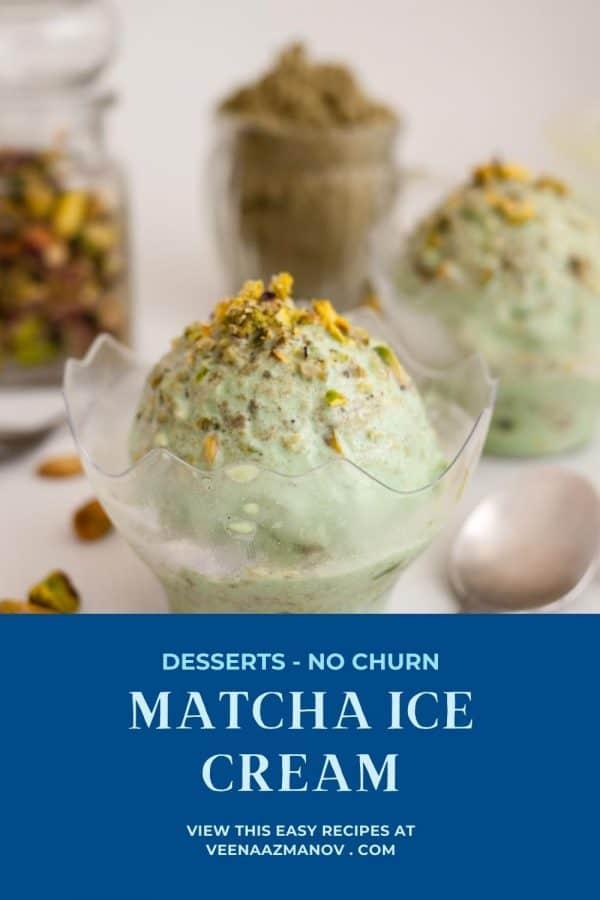 Pinterest image for Matcha Ice Cream.