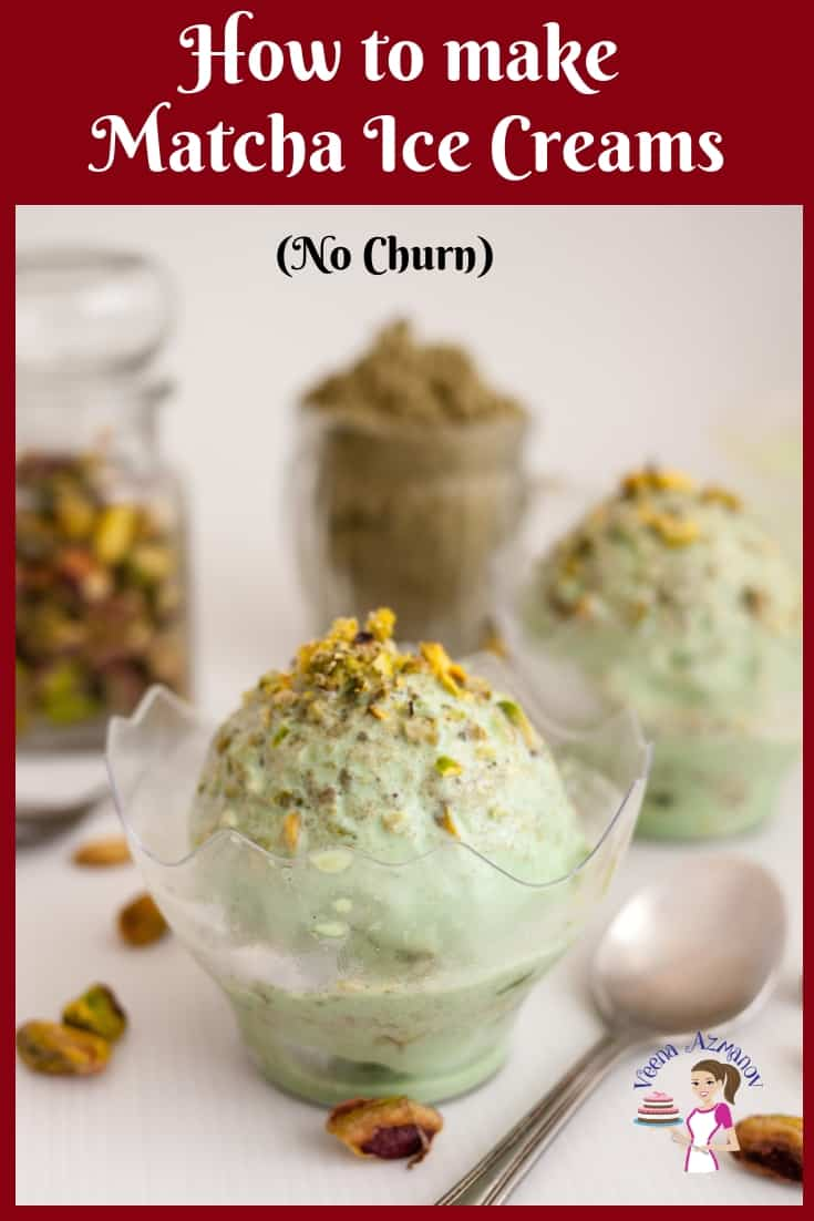 Two ice cream bowls of matcha green tea ice creams topped with pistachio nuts