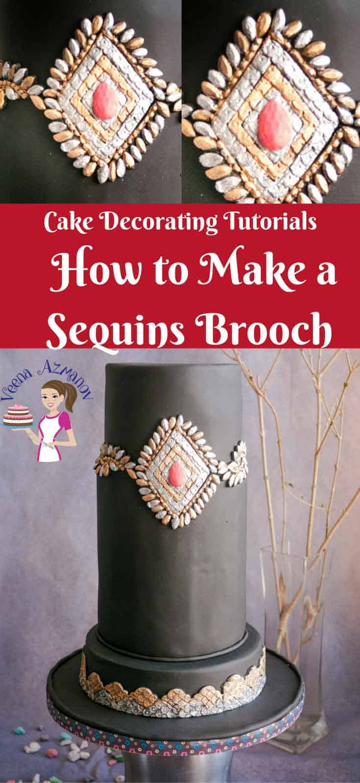 Sequins as a cake trend that's making a huge statement in fashion cakes. It give a dramatic look. Make it classy as this or as rustic combined it with textures and frills. This sequins brooch is bound to look impressing on any cake designed for a lady.