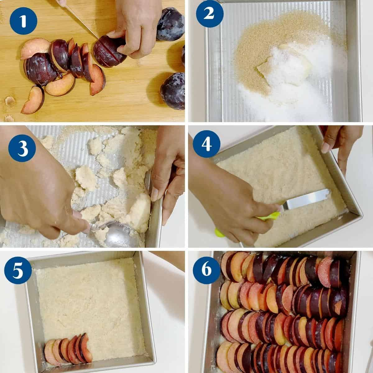 Progress pictures collage making the fruit base for plum cake.