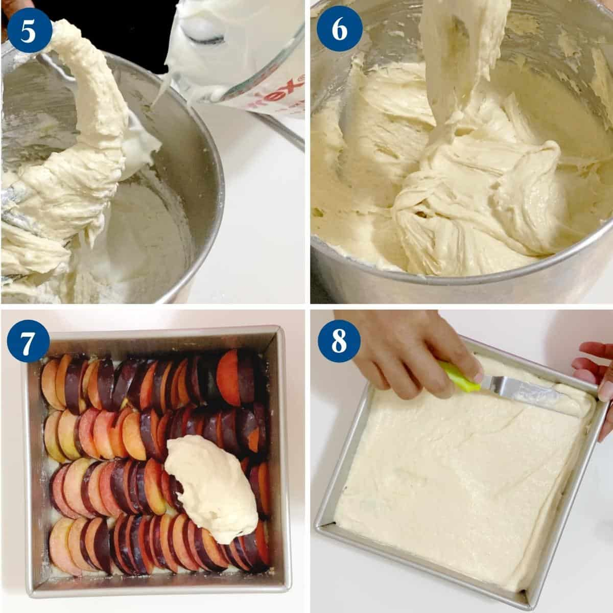 Progress pictures collage topping the cake batter over the sliced plums.