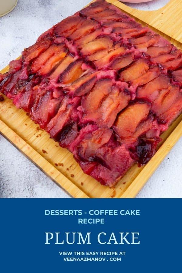 Pinterest image for upside down plum coffee cake.