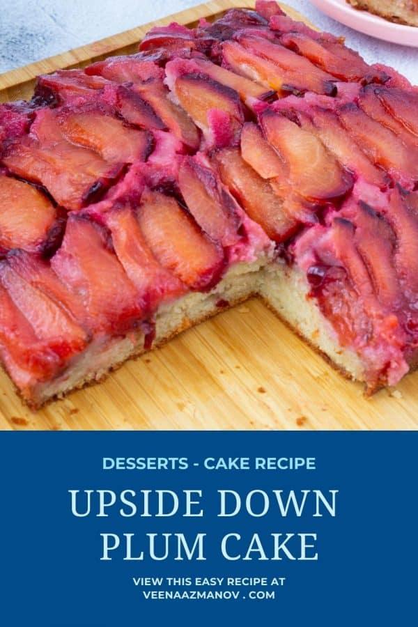 Pinterest image for upside down plum cake.