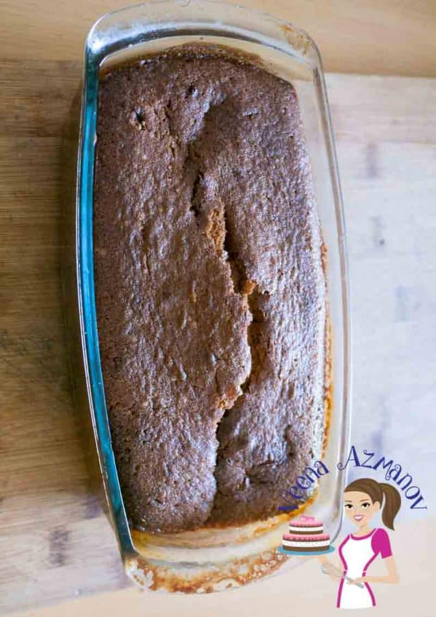 A baked cake in a baking dish.