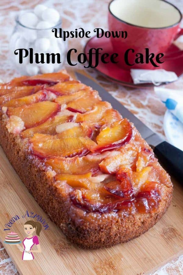 An upside down plum cake on display