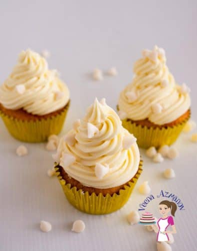 These moist white chocolate cupcakes are infused with the of sweet white chocolate goodness. Light and fluffy with a soft, tender but flaky crumb. Dressed with a rich soft white chocolate buttercream and sprinkled with more white chocolate chips for that added luxury. These are bound to be your new favorite.