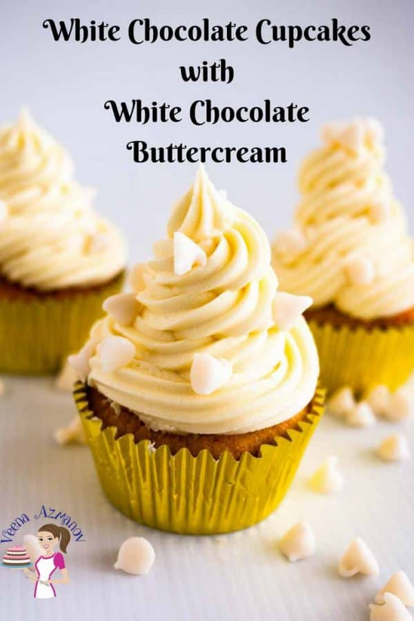 A frosted white chocolate cupcakes with white chocolate buttercream and white chocolate chips