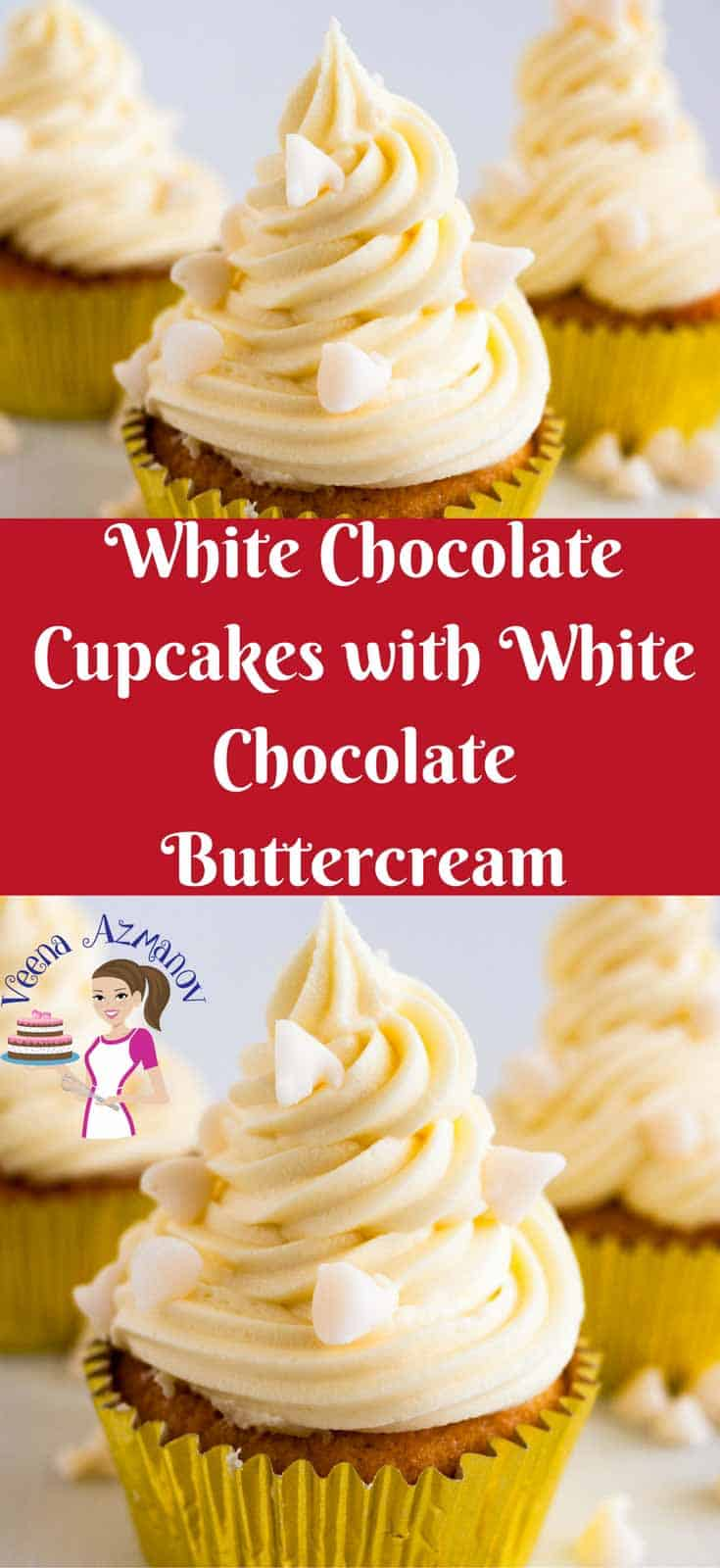 These moist white chocolate cupcakes are infused with the of sweet white chocolate goodness. Light and fluffy with a soft, tender but flaky crumb. Dressed with a rich soft white chocolate buttercream and sprinkled with more white chocolate chips for that added luxury. These are bound to be your new favorite. #cupcakes #whitechocolate #baking #buttercream #frosting #whitechocolatecupcakes #whitechocolatefrosting