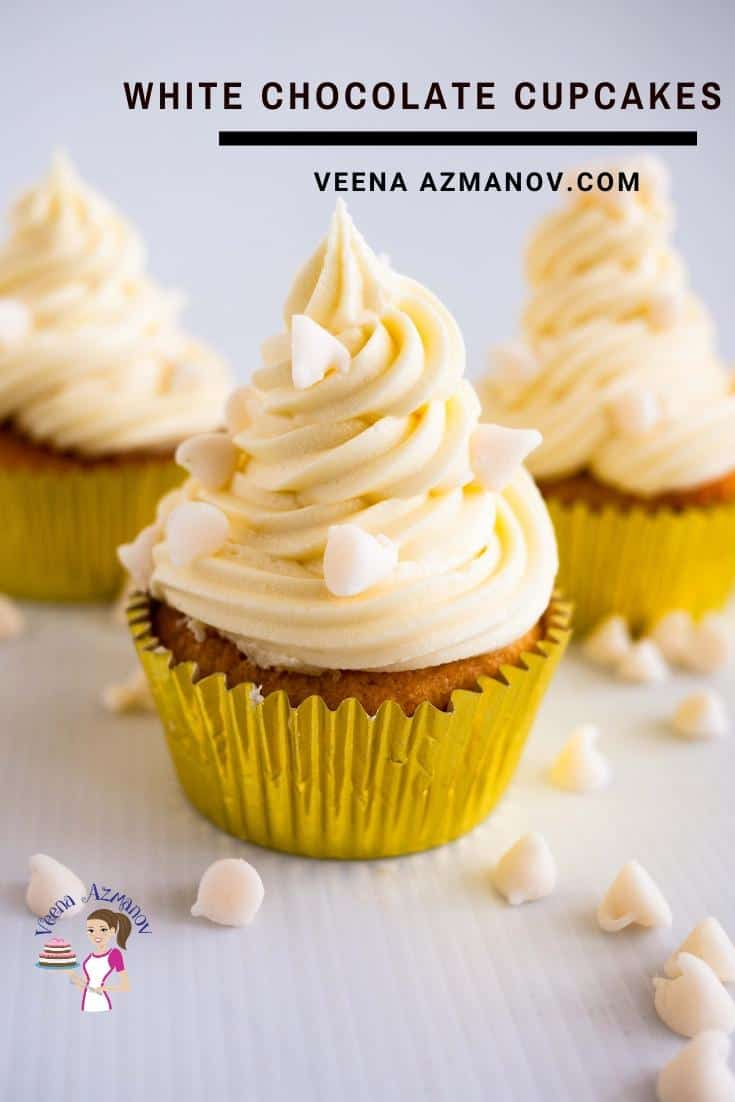Homemade Cupcakes with white chocolate and frosting