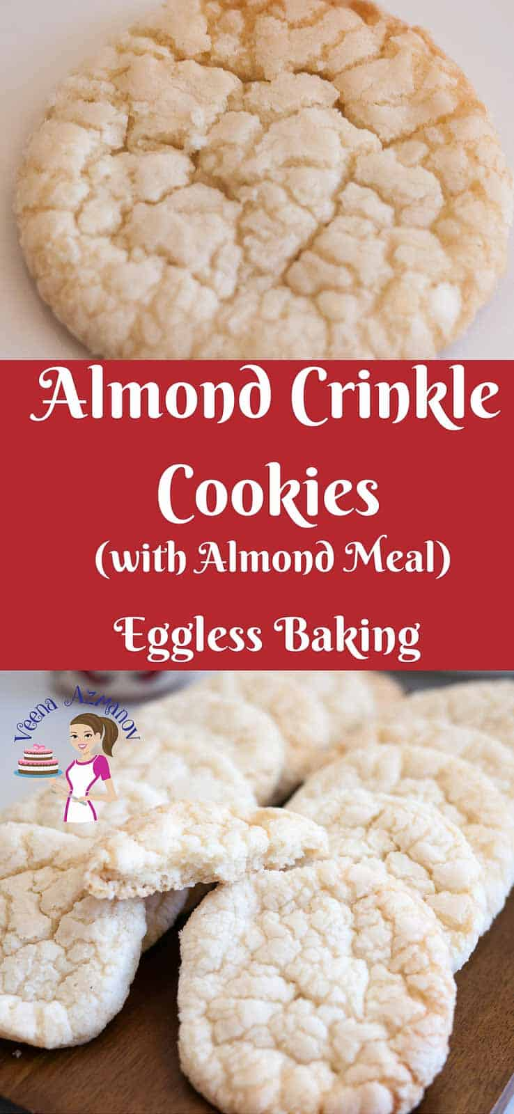 One of the easiest cookie recipes to make are these almond crinkle cookies, made with real almonds.  Simple, easy, effortless and ready in less than 15 minutes. Nothing beats combining ingredients in a bowl, forming balls and baking them.