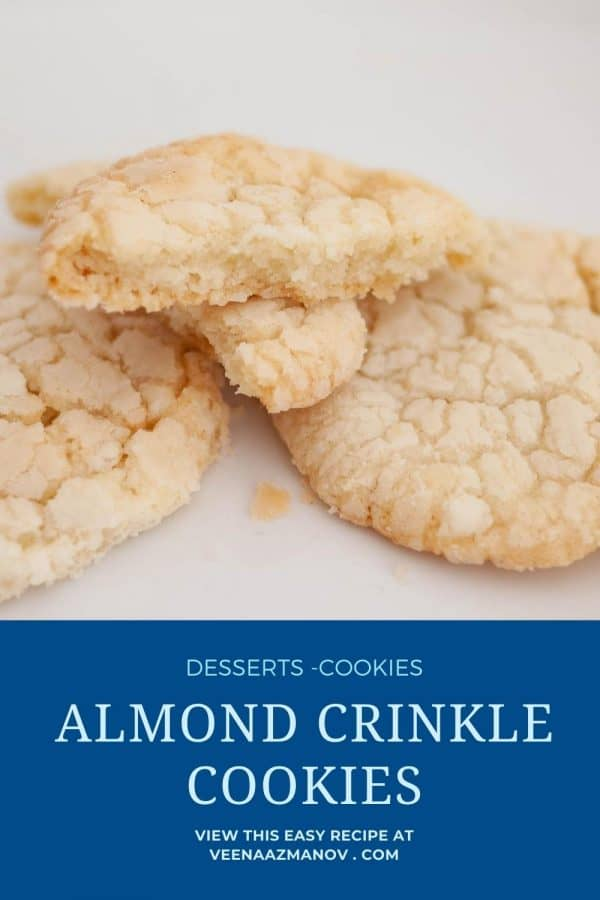 Pinterest image for almond crinkle cookies.