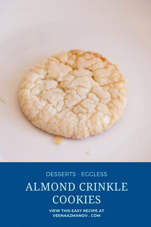 Pinterest image for crinkle cookies with almonds.