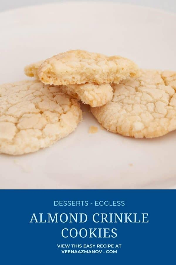 Pinterest image for cookies - almond crinkle.