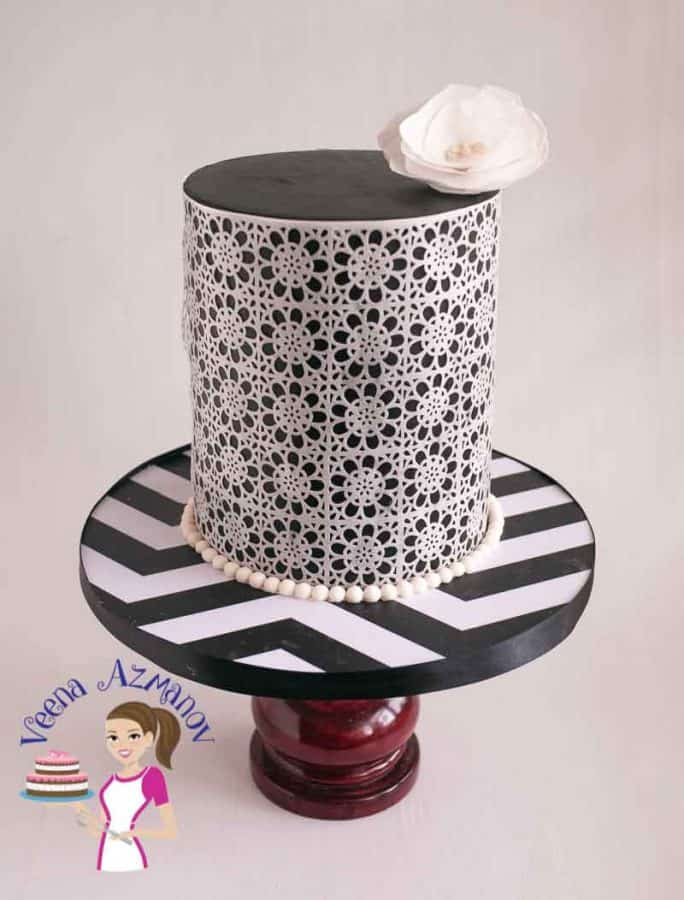Top View of the Cake Black and White Wafer Paper Lace Cake