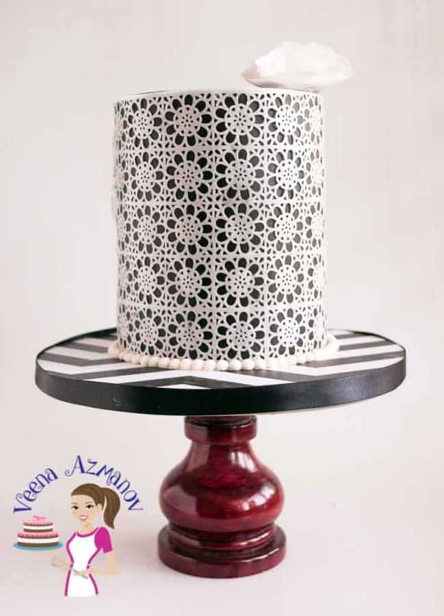 Angle view of my Black and White Wafer Paper Lace Cake