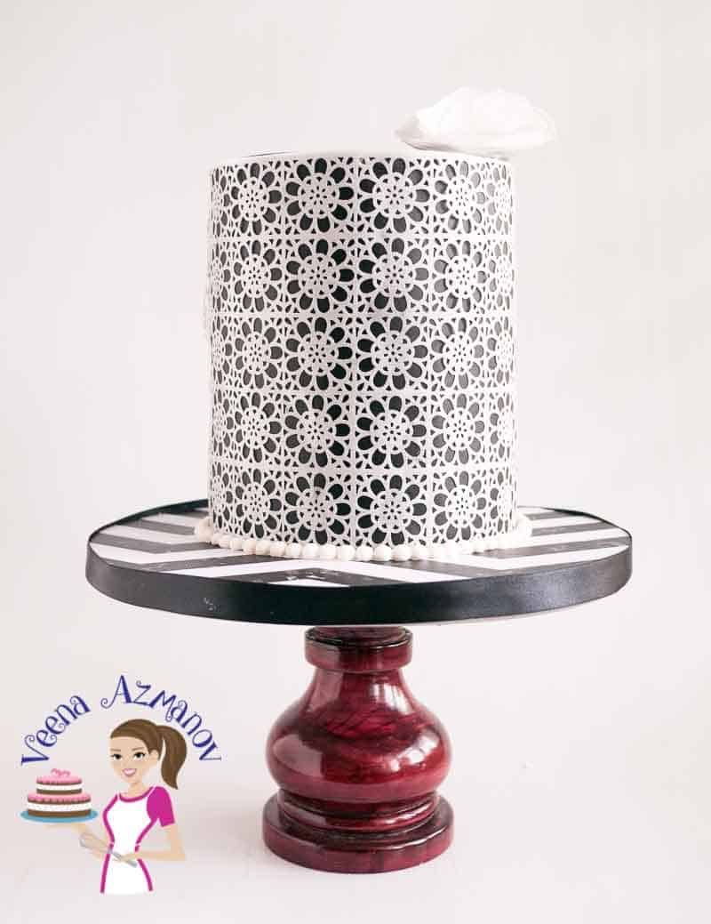 Front view of the black and white Wafer paper lace cake.