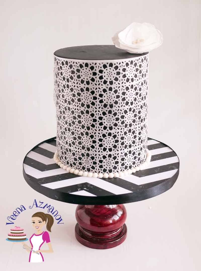 Black Wafer Paper Lace Cake