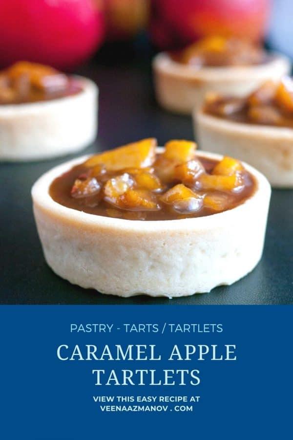 Pinterest image for caramel apple tartlets.