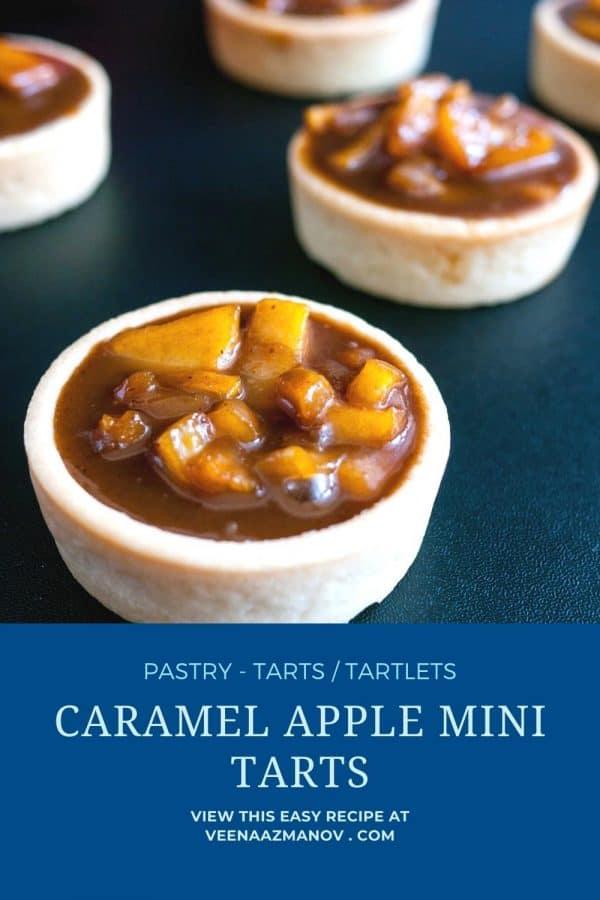 Pinterest image for mini tarts with caramel apple filling.