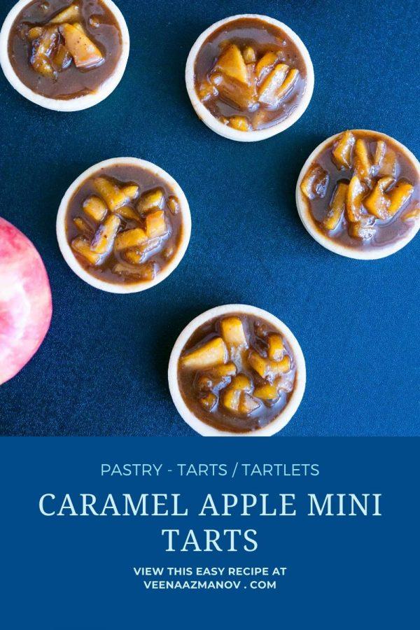 Pinterest image for tartlets with caramel apple filling.