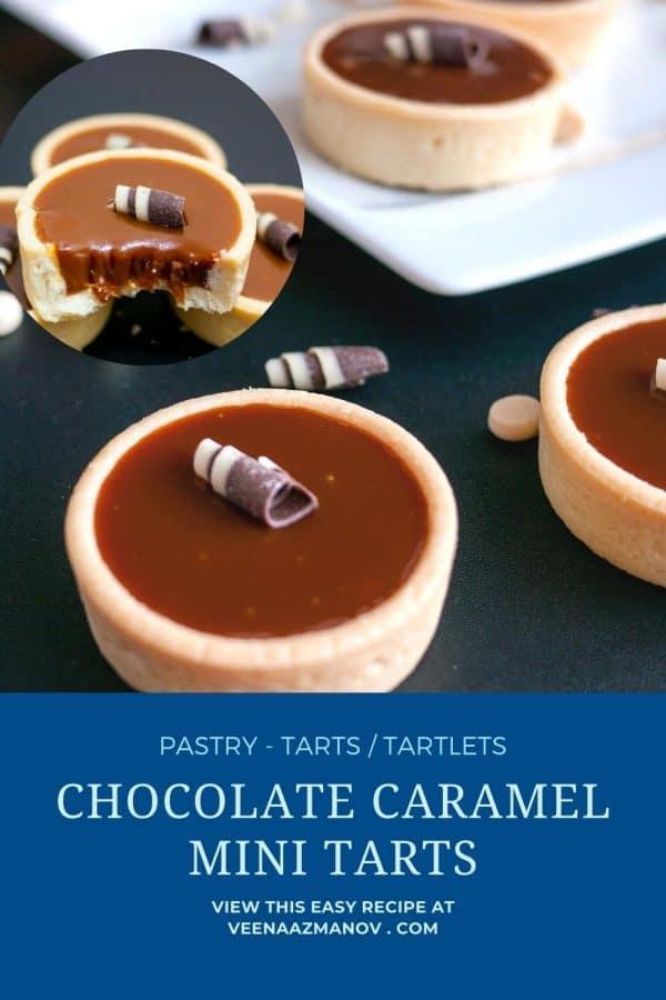 Pinterest image for mini tarts with caramel chocolate.