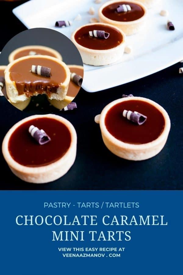 Pinterest image chocolate caramel tartlets.