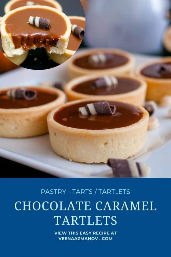 Pinterest image for Mini tarts with chocolate caramel.
