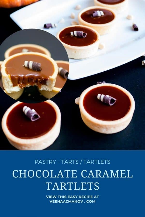 Pinterest image for tartlets with chocolate caramel.