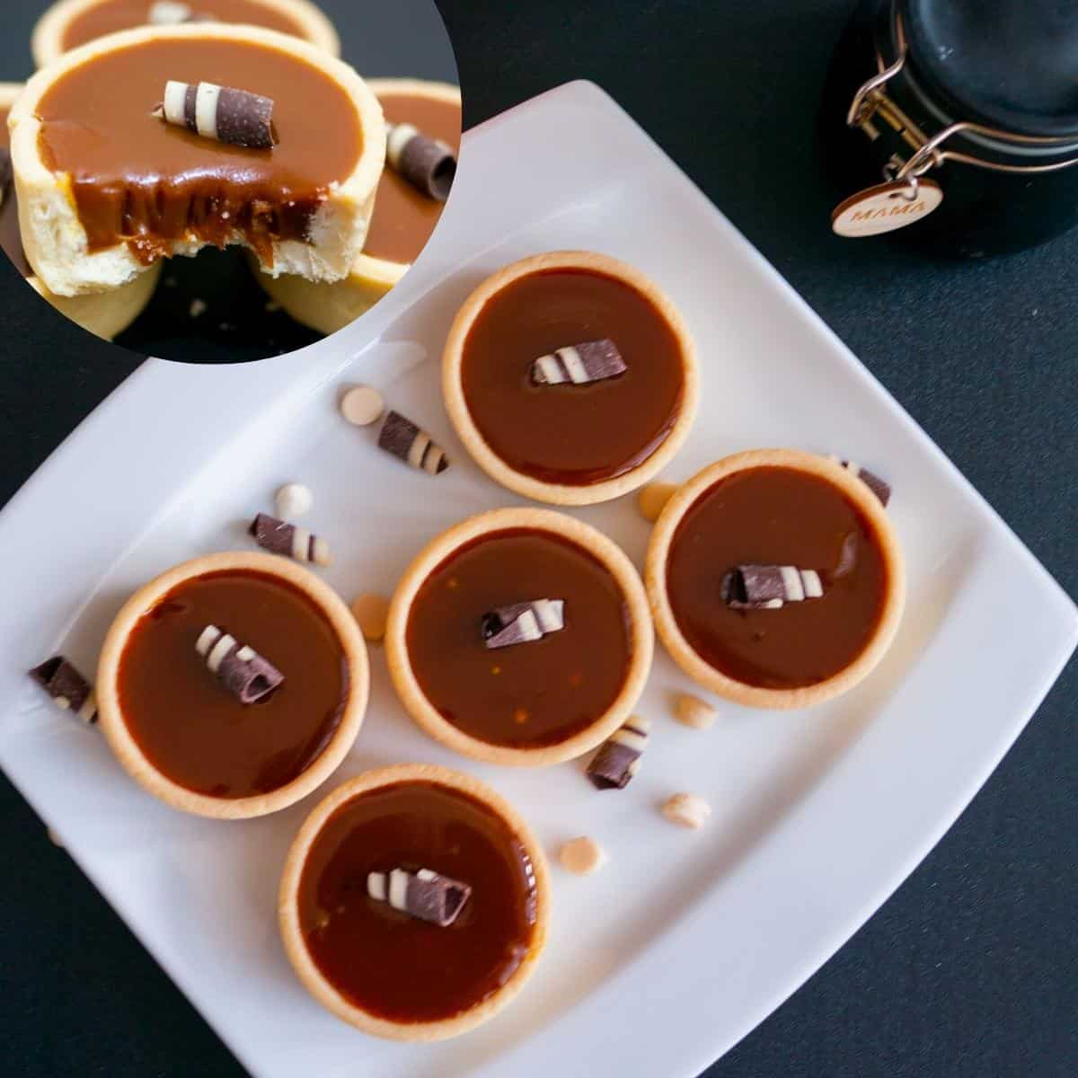Mini tarts filled with chocolate caramel filling.