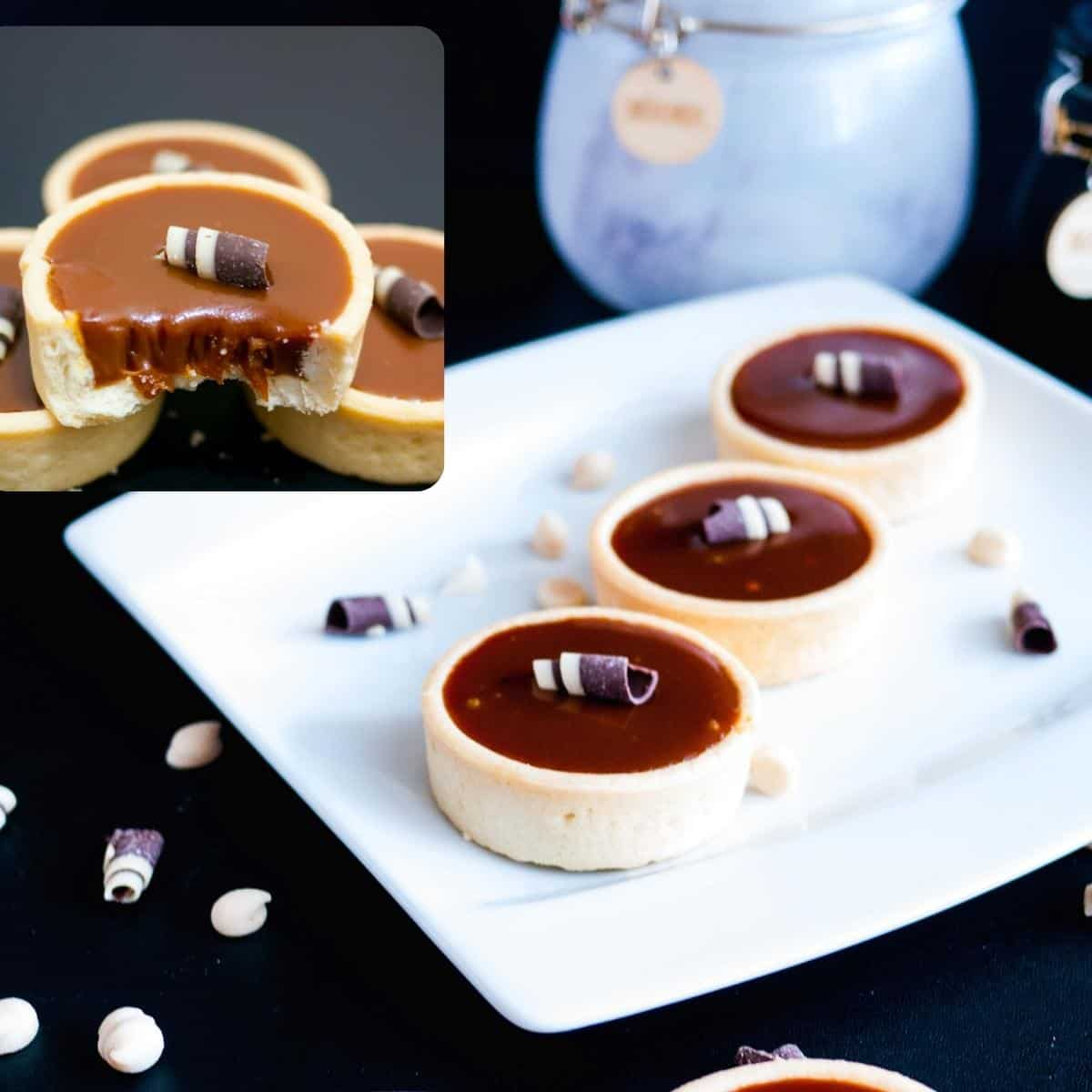 Mini tartlets on a white plate.