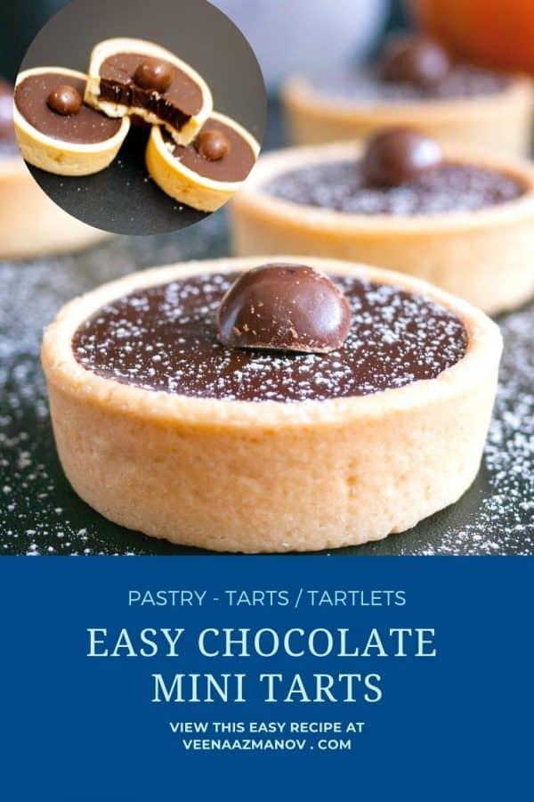 Pinterest image for mini tarts with chocolate ganache.