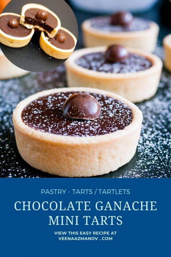Pinterest image for mini tarts with chocolate.