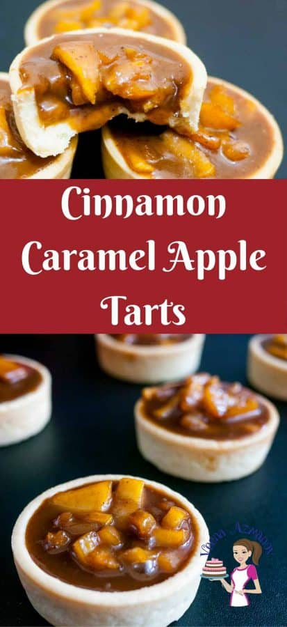 Pinterest image Rich, creamy, fruity and caramelized these exotic cinnamon caramel apple tarts are an absolute treat. Filled in crisp short crust pastry baked to perfection. These are perfect fir fall or any time of the year mini desserts and make entertaining a breeze.