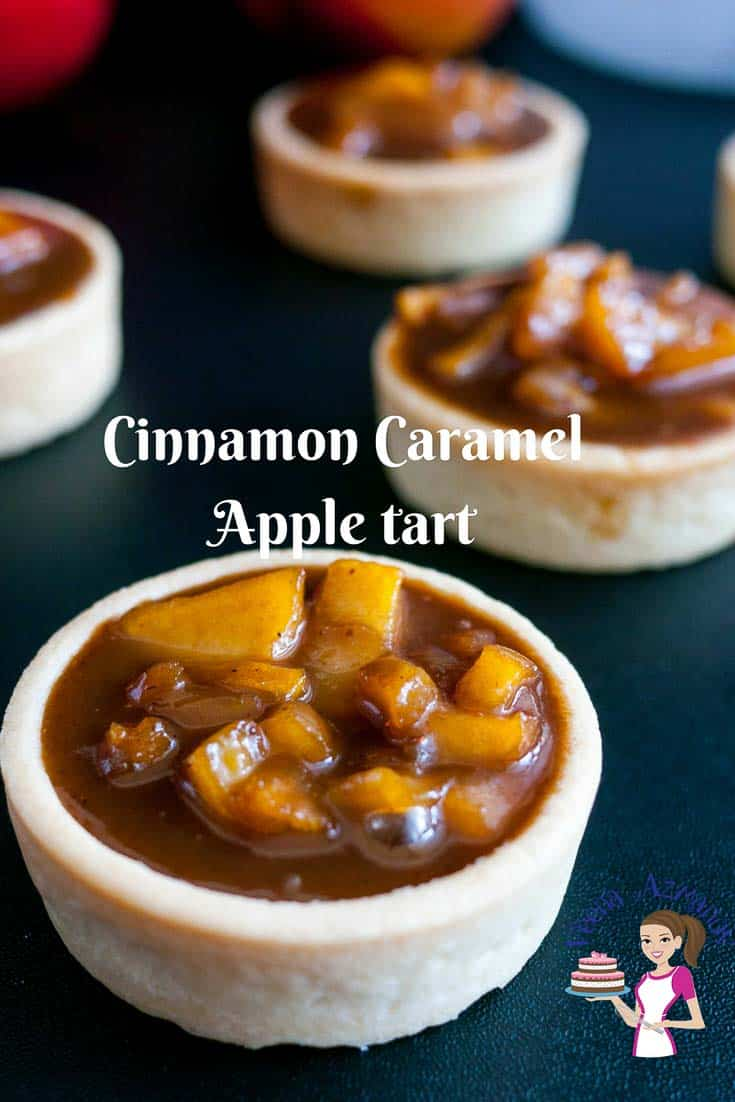 Featured image - Rich, creamy, fruity and caramelized these exotic cinnamon caramel apple tarts are an absolute treat. Filled in crisp short crust pastry baked to perfection. These are perfect fir fall or any time of the year mini desserts and make entertaining a breeze.