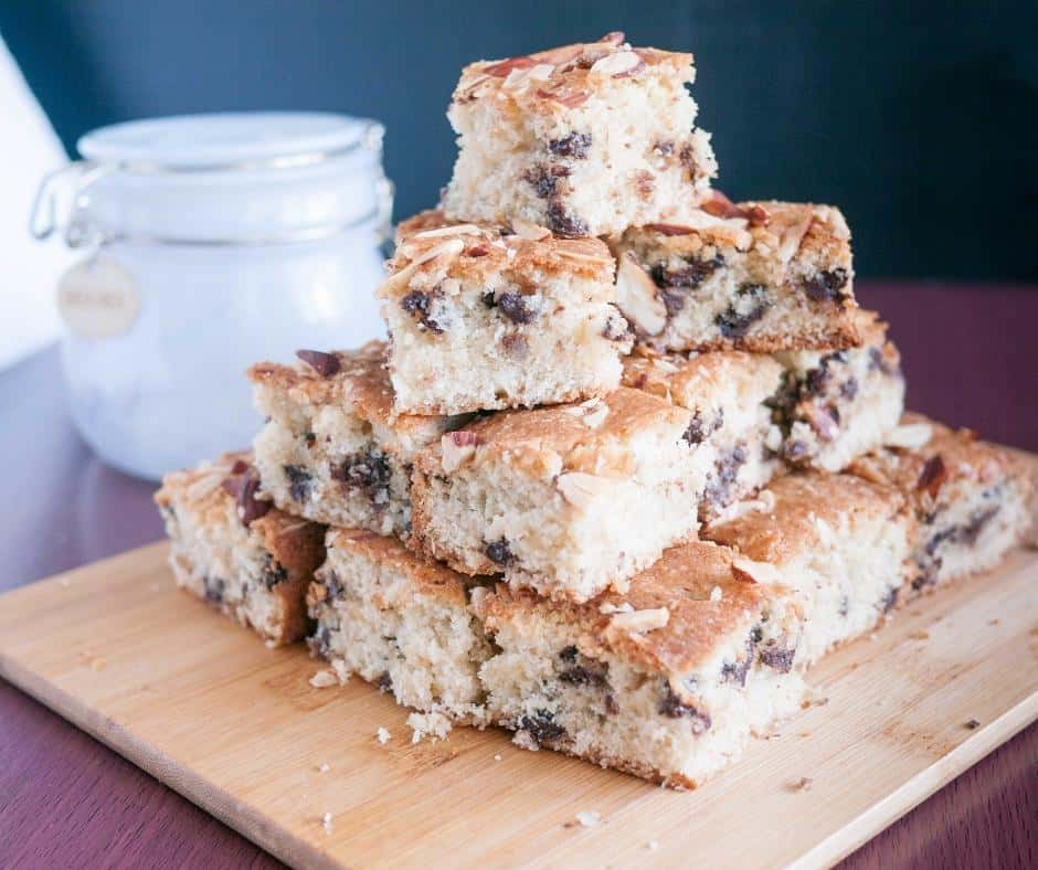 Homemade Bars or squares, made with shredded coconut, chocolate chips and almonds