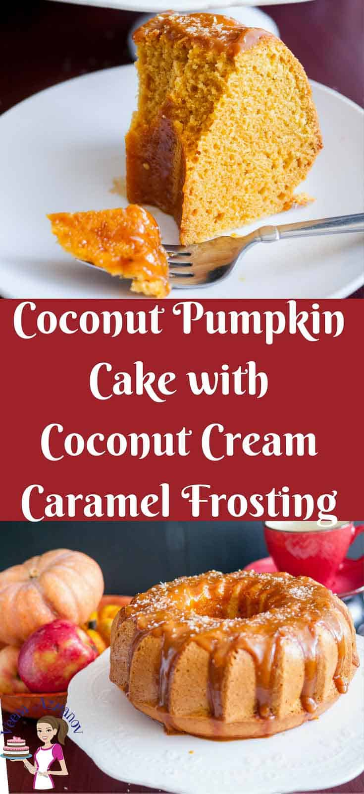 Pinterest image -It's the flavor of fall all over this moist coconut pumpkin cake drizzles with golden coconut cream caramel. The cake is a light and fully moist batter with the flavor of molasses from the brown sugar then enriched with pumpkin puree, pumpkin spice and coconut cream before baking to perfection.