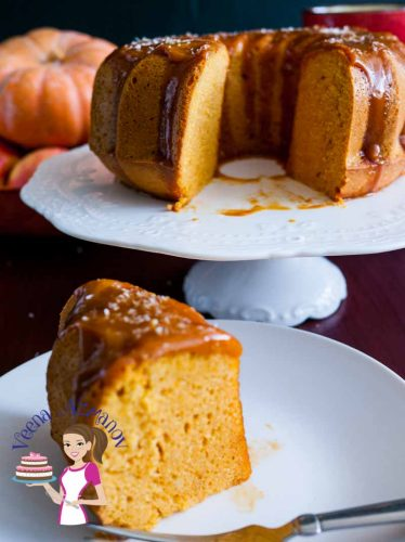Post featured image - It's the flavor of fall all over this moist coconut pumpkin cake drizzles with golden coconut cream caramel. The cake is a light and fully moist batter with the flavor of molasses from the brown sugar then enriched with pumpkin puree, pumpkin spice and coconut cream before baking to perfection.
