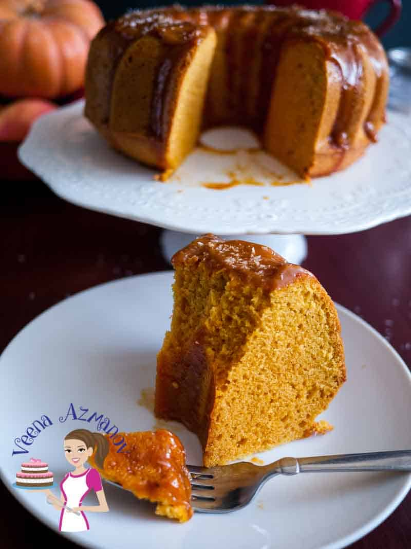A slice of cake - It's the flavor of fall all over this moist coconut pumpkin cake drizzles with golden coconut cream caramel. The cake is a light and fully moist batter with the flavor of molasses from the brown sugar then enriched with pumpkin puree, pumpkin spice and coconut cream before baking to perfection.