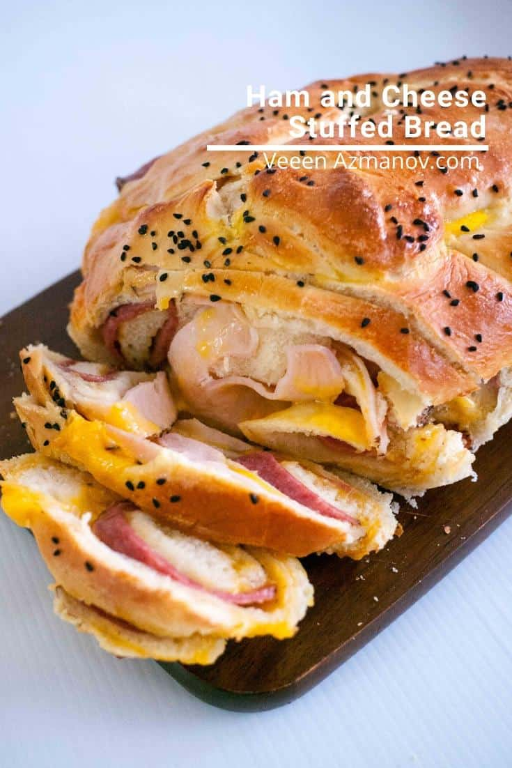 A ham and cheese stuffed bread.