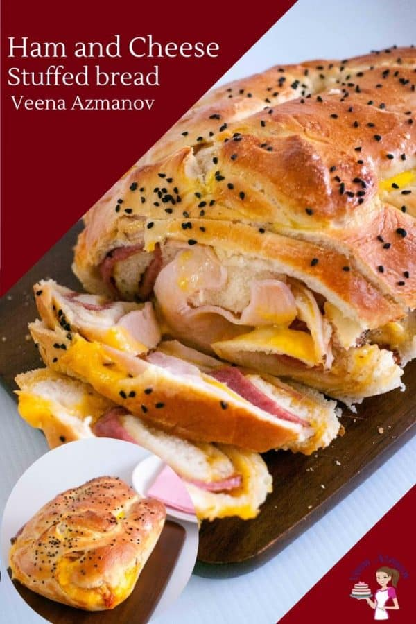 A sliced ham and cheese stuffed bread.
