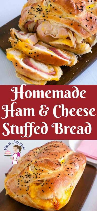 Pinterest image Fresh homemade ham and cheese stuffed bread is an absolute treat to wake up to on any day of the week especially on a a long weekend when you feeling lazy. This dough is simple, easy and effortless to bring together. A little planning in advance and breakfast or snack is as easy as pie.
