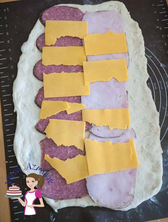 Progress picture - place slices of ham and cheese